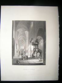Belgium 1847 Antique Print. Cathedral of St. Bavon, Ghent